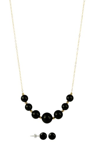 Graduated Black Onyx with Gold Over Silver Beads and Chain Necklace, 18