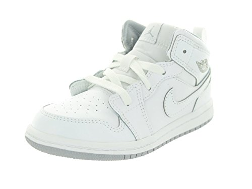 Nike Jordan Toddlers Jordan 1 Mid Bt White/White/Wlf Gry Basketball Shoe 9 Infants US