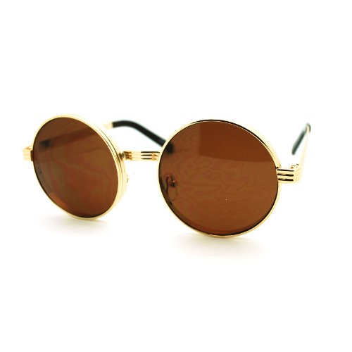 Steam Punk Binocular Style Thick Metal Frame Circle Lens Sunglasses Gold