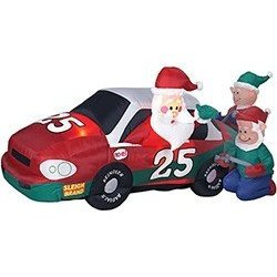 Gemmy Airblown Inflatable Stock Car Christmas Santa with Elf Pit Crew Yard Art
