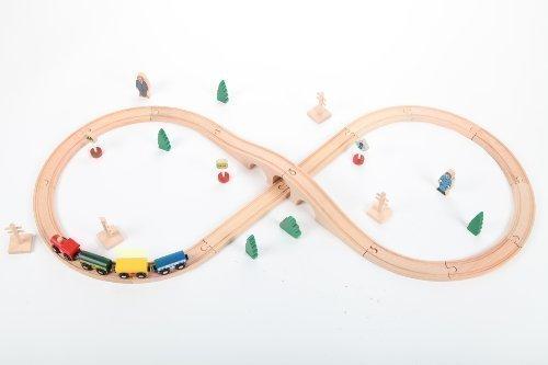 point-kids set de train en bois 34 pièces, set de train complet bois