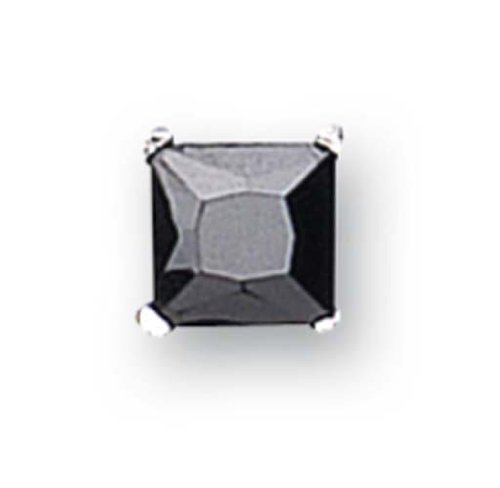 Sterling Silver Cubic Zirconia 7mm Square Gents' Stud Single earring