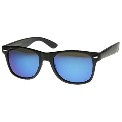 zeroUV® - Flat Matte Reflective Revo Color Lens Large Wayfarers Style Sunglasses - UV400
