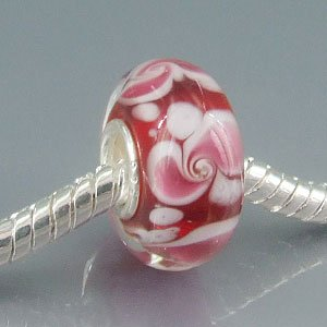 Red Flower Murano Glass Bead On Sterling Silver Solid Core Fits Pandora Charm Chamilia Biagi Troll Beads Europen Style Bracelets