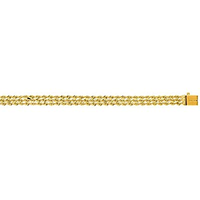 14K Solid Yellow Gold Multi Line Rope Bracelet 6mm thick 8 Inches