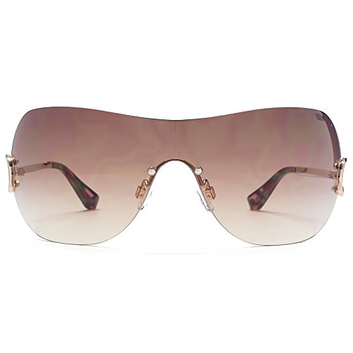 SUUNA Victoria Diamante Detail Visor Sunglasses in Gold SUU127
