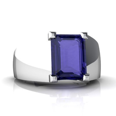 14K White Gold Emerald-cut Created Sapphire Men's Ring