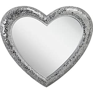 Crackle Heart Wall Mirror - Silver (115749133)