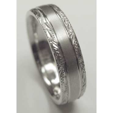 Palladium 950 Wedding Band Ring in 6.00 Millimeters with Hand Carved Design Style SE2213PD , Finger Size 7¾