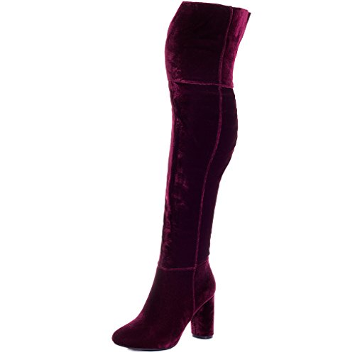 Block (Red Leather Thigh High Boots)