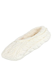 Cable Knit Faux Fur Trim Ballet Socks