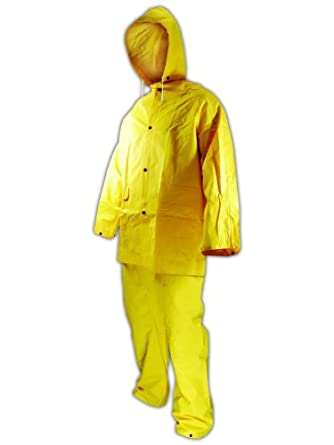 Magid 3014S RainMaster Vinyl Coated 3 Piece Rain Suit, Snap Front Jacket, Bib Pant and Detachable Hood, Small, Yellow (Case of 12 Sets)