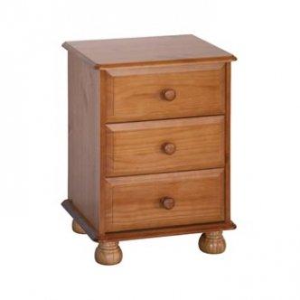 Dovedale Solid Pine 3 Drawer Bedside Cabinet