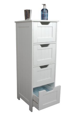 Popular Slim white wood storage cabinet four drawers bathroom bedroom
