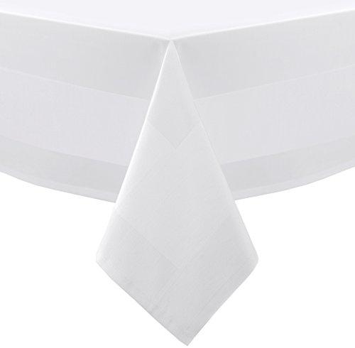 Gastronomie Hotel Tischdecke, Tischwäsche Damast Vollzwirn Baumwolle Atlaskante, 100x140 cm Weiß
