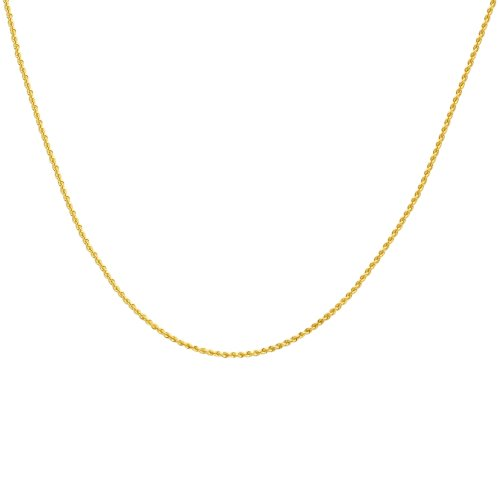 Duragold 14k Yellow Gold Solid Rope Chain Necklace (1.0mm), 18""