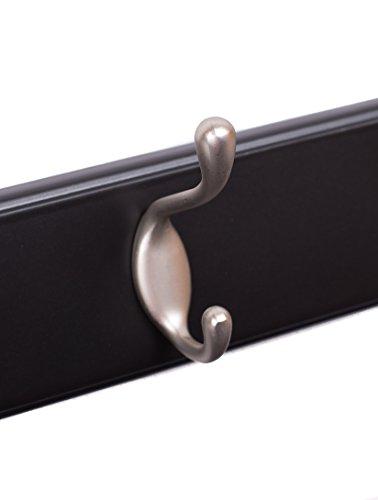 BirdRock Home Oval Hook Coat and Hat Rack | 4 Hooks | Black Finish | Satin Nickel Hooks