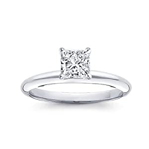 1 Carat Princess Cut Diamond Solitaire Engagement Ring 18K White Gold (J, SI2, 1 c.t.w) Very Good Cut