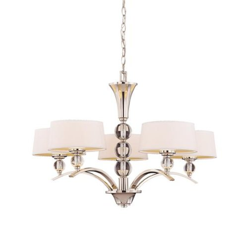 B002I8P58O Savoy House Lighting 1-1035-5-109 Murren Collection 5-Light Single-Tier Chandelier, Polished Nickel with White Shades