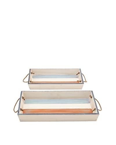 Set of 2 Wooden Trays With Rope Handles