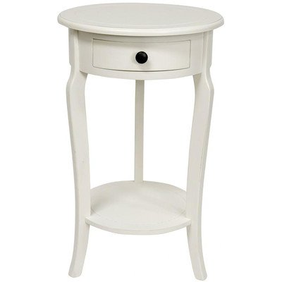 Oriental Furniture 26-Inch Classic Round End Table with Drawer White