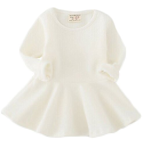 EGELEXY Baby Girls' Long Sleeve Cotton Ruffle Top Dress,(9-12Months),White
