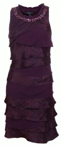 S L Fashions Women's Shimmer Tiered Dress (10, Aubergine)