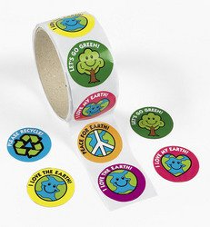 SAVE THE EARTH ROLL STICKERS (1 ROLL) - BULK