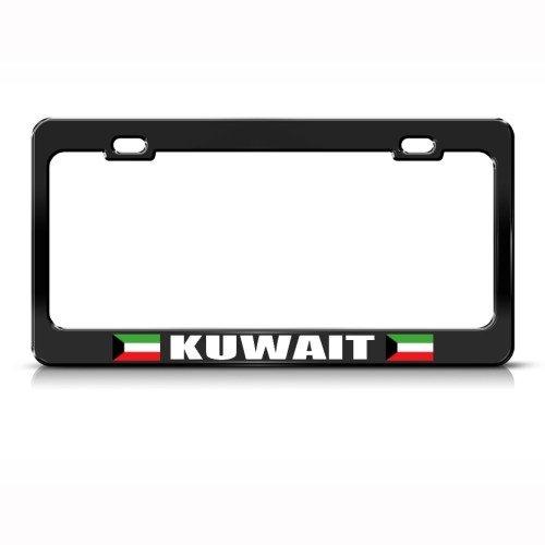 Kuwait Flag Black Country Metal License Plate Frame Tag Holder