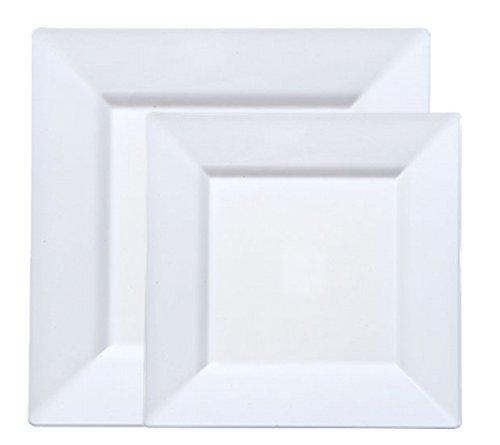 40 White Square Plastic Plates