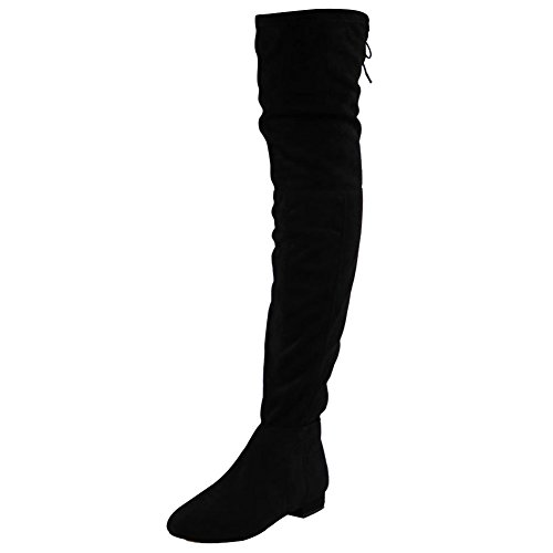 womens-ladies-thigh-high-over-the-knee-low-heel-flat-lace-up-boots-shoes-size-6