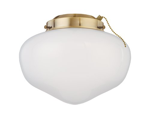 Westinghouse Lighting 7781100 Schoolhouse Glass Indoor/Outdoor 4-Inch Fitter Ceiling Fan Light Kit, Polished Brass with White Glass Shade