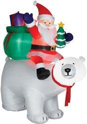 Christmas Inflatable 6' Santa On Polar Bear front-975984