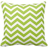 Lime Green Chevron Toss Throw Pillow Cover Polyester Square Decorative Cushion Case 18 x 18 Inch