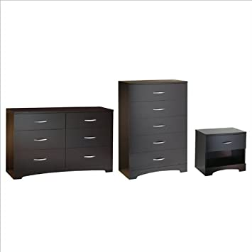 South Shore Back Bay Dresser, Chest and Nightstand Set in Dark Chocolate