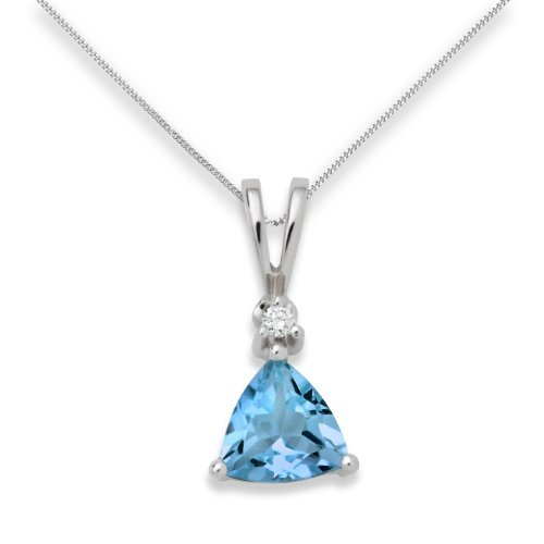 Blue Topaz Necklace, 9ct White Gold, Diamond and Blue Topaz Pendant, 45cm Chain, by Miore, USP002P4W