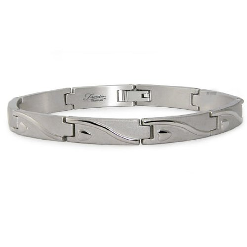 Titanium Men's Link Bracelet (7.5mm Wide) 8.5 Inches