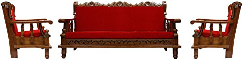 Dushyant MMZWC322 Five Seater Sectional Sofa Set with Cushions 3-1-1 (Glossy Finish, Brown)