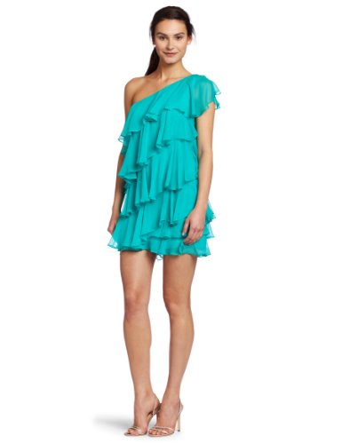 HALSTON HERITAGE Women's Ruffle Cocktail Dress, Bermuda Blue, 0