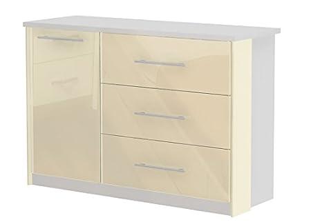 Kommode Lepa 29, Farbe: Weiß / Creme Hochglanz - Abmessungen: 86 x 126 x 45 cm (H x B x T)