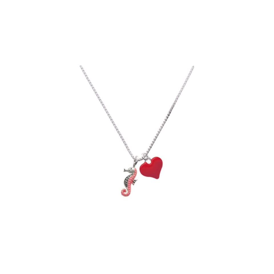 Seahorse   Hot Pink and Red Heart Charm Necklace [Jewelry]