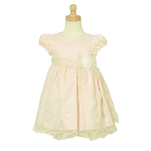 Bonnie Baby Embroidered Special Occasion Dress, Pink, 24 Months