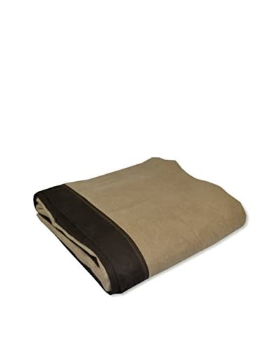 PÜR Cashmere Velvet Driving Throw With Ultrasuede Edging, Sand