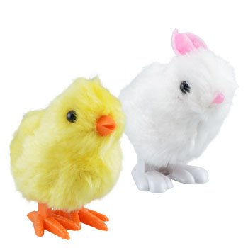 Plush Pair of Hopping Wind-Up Friends! - Bunny AND Chick - Combo Pack of 2