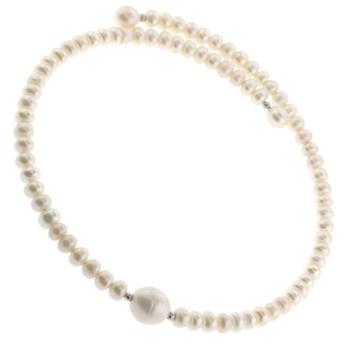 Excellent Quality Freshwater Pearl Button Choker Necklace on Memory Wire with Center 13mm Freshwater Pearl- 7-7.5mm Pearls