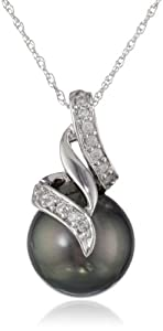 10k White Gold Black Tahitian Cultured Pearl with Diamond Accent Pendant Necklace (1/10 Cttw, H-I Color, I2-I3 Clarity), 17