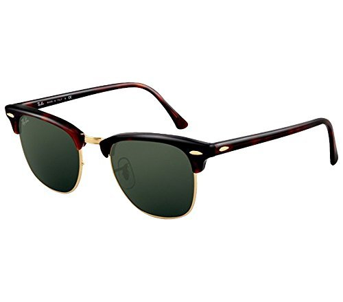 2405d8c2d1 Ray-Ban RB3016 Clubmaster Sunglasses (51 mm, Tortoise Frame Solid Black G15  Lens) Ê (Color: Tortoise ...