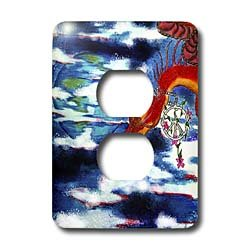 Cindy Thorrington Haggerty Mythical Magical - Dragons Gift to the World - Light Switch Covers - 2 plug outlet cover