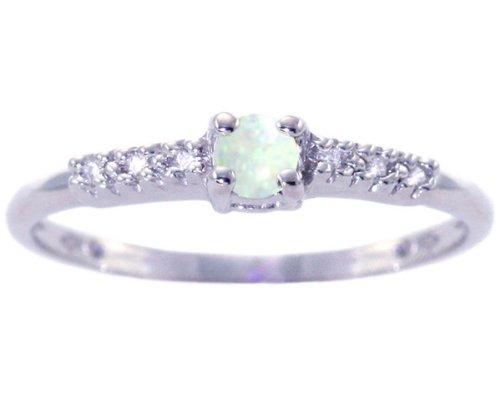 14K White Gold Petite Round Gemstone and Diamond Promise Ring-Opal, size8.5