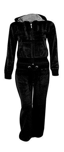Kids Girls Hooded Velour Comfortable Pocket Zip Plus Size Active Jogging Lounge Top Bottom Suit Sweatpants Tracksuit_Black_13-14